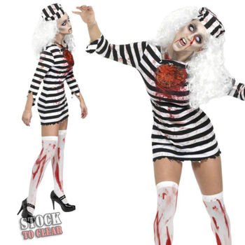 Wholesale halloween costumes for women Black-and-white Striped Prison Uniform Sexy Carnival Party Zombie Cosplay costume