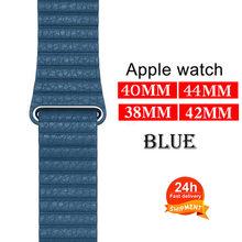 Кожаный ремешок для Apple Watch Band 44 40 мм для Iwatch 42 38 мм браслет из натуральной кожи с магнитной пряжкой 5/4/3/2(Китай)