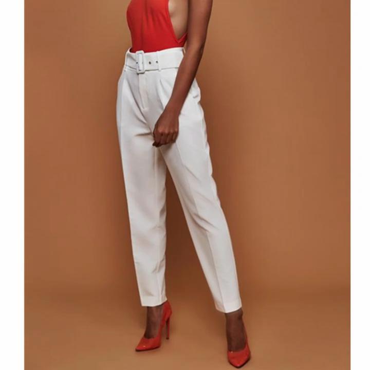 Celana Kasual Wanita Pinggang Tinggi Musim Gugur, Celana Setelan Wanita Kaki Lurus Longgar Pinggang Tinggi Musim Gugur 2020