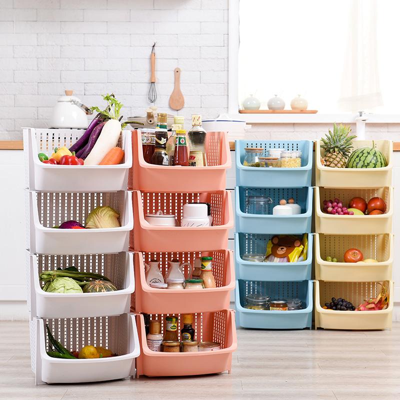 Multilayer Sorting Sundries Vegetable Basket Storage Crates Kitchen Plastic Rack Shelf