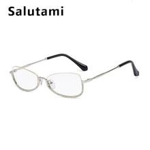 Роскошный бренд кристально чистые очки оправа женские без оправы Стразы розовые очки женские сексуальные сплав очки Инс кошачий глаз оттен...(China)