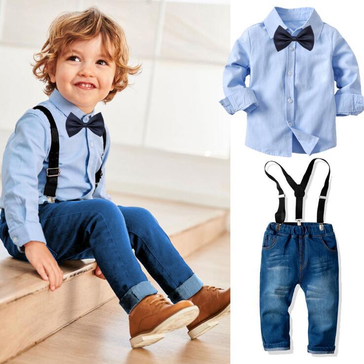 Yaz yeni geldi erkek bebek giysileri setleri yüksek kaliteli siyah gömlek n jean pantolon bebek patron elbise