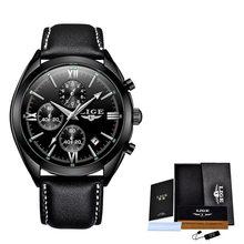 2020 новые мужские часы LIGE Лидирующий бренд кожаный Хронограф водонепроницаемые спортивные автоматические кварцевые часы для мужчин Relogio ...(Китай)