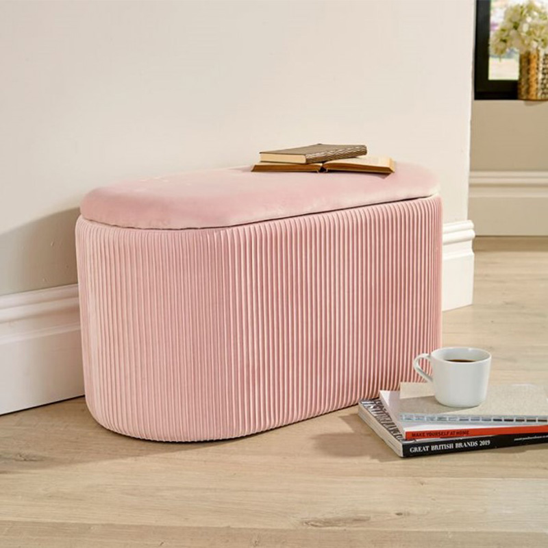 Reatai Home furniture pink velvet seat bench bedroom soft storage bench large ottoman bench for living room