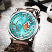 Мужские часы CURREN Топ люксовый бренд Кварцевые водонепроницаемые наручные часы мужские повседневные кожаные спортивные мужские часы Дата ...(Китай)