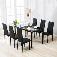 Modern Design Cheap Dining Room Furniture Metal Legs Glass Top Black Dining Table Set 6 Chairs Dining Room Set