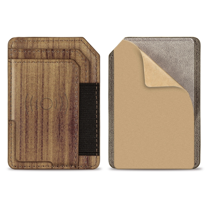 Stretchy <strong>Cell</strong> <strong>Phone</strong> Wallet Card Holder <strong>Phone</strong> <strong>Pocket</strong> for iPhone android and All Smartphones Wood Grain Car Mount Holder
