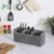 3-Compartment Rustic Grey Wood Utensil Holder