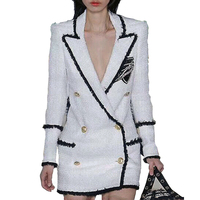 Factory wholesale women's long sleeve full color sequined tweed fashion jackets