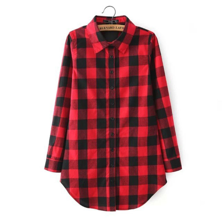 Cheap women <strong>cotton</strong> polyester long sleeve plaid shirt <strong>lady</strong> checkered <strong>blouse</strong>