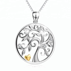 HOT Women Jewelry 925 sterling Silver Clear Crystal Tree And Heart Pendant Necklace
