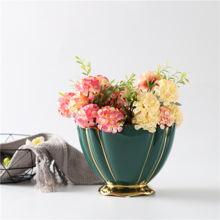 hand curved gold plating modern wedding decorative ceramic flower stand