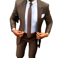 2 Piece Sets( Blazer And Pant )Slim Fit Brown Men Suit For Business All Year ZYL149