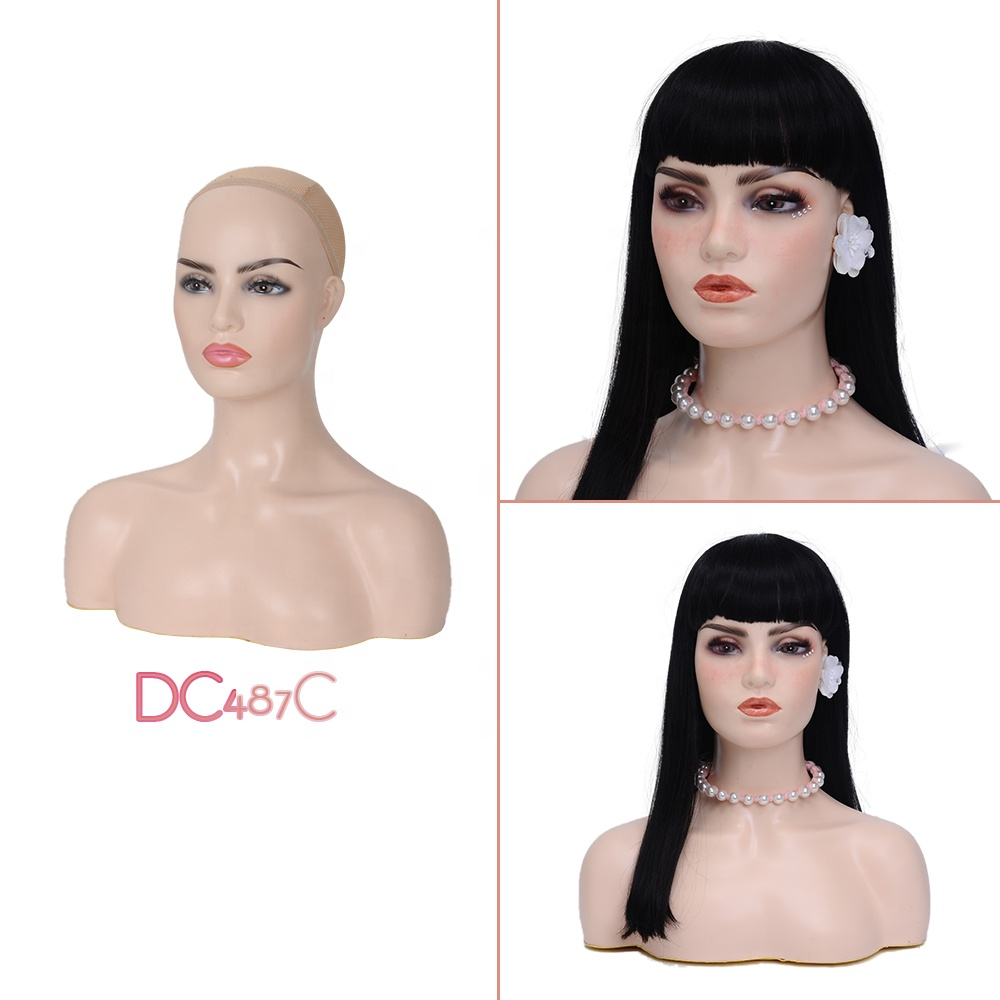Hot Sell L7 PVC Female Realistic Wig Mannequin Heads with Shoulders for Display in Store