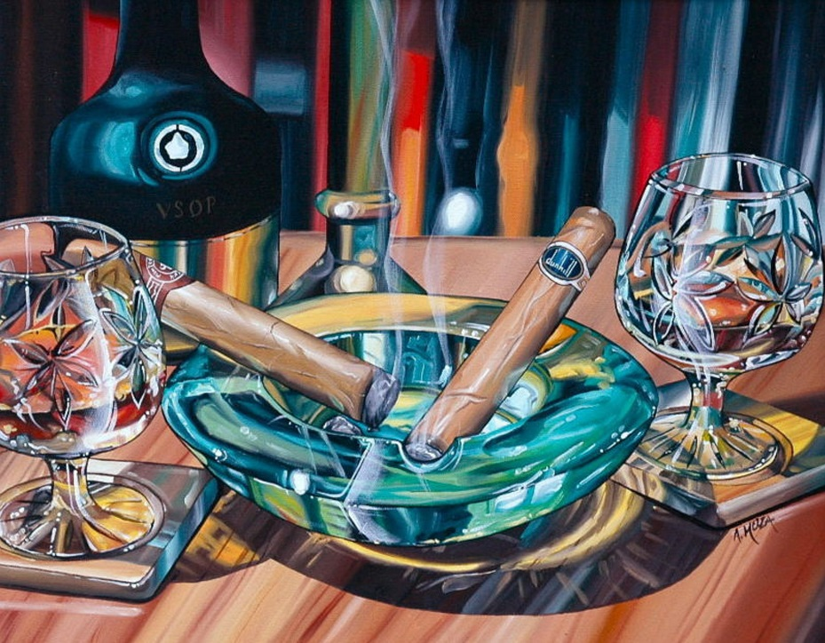 Famous handmade still life cigar smoke artwork picture oil painting on canvas