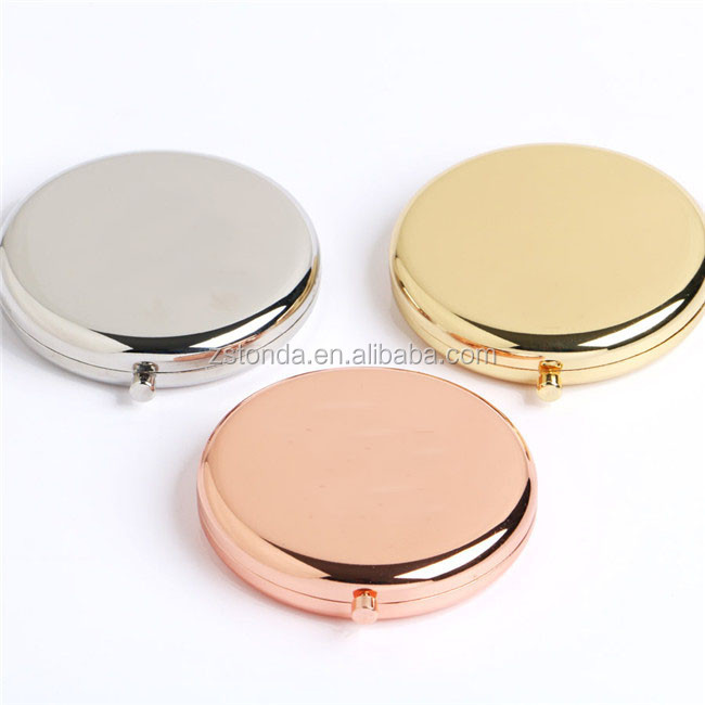 Folded Round Branded Cosmetic Mirror Rose Gold Metal Pocket Mirror personalized pocket mirror