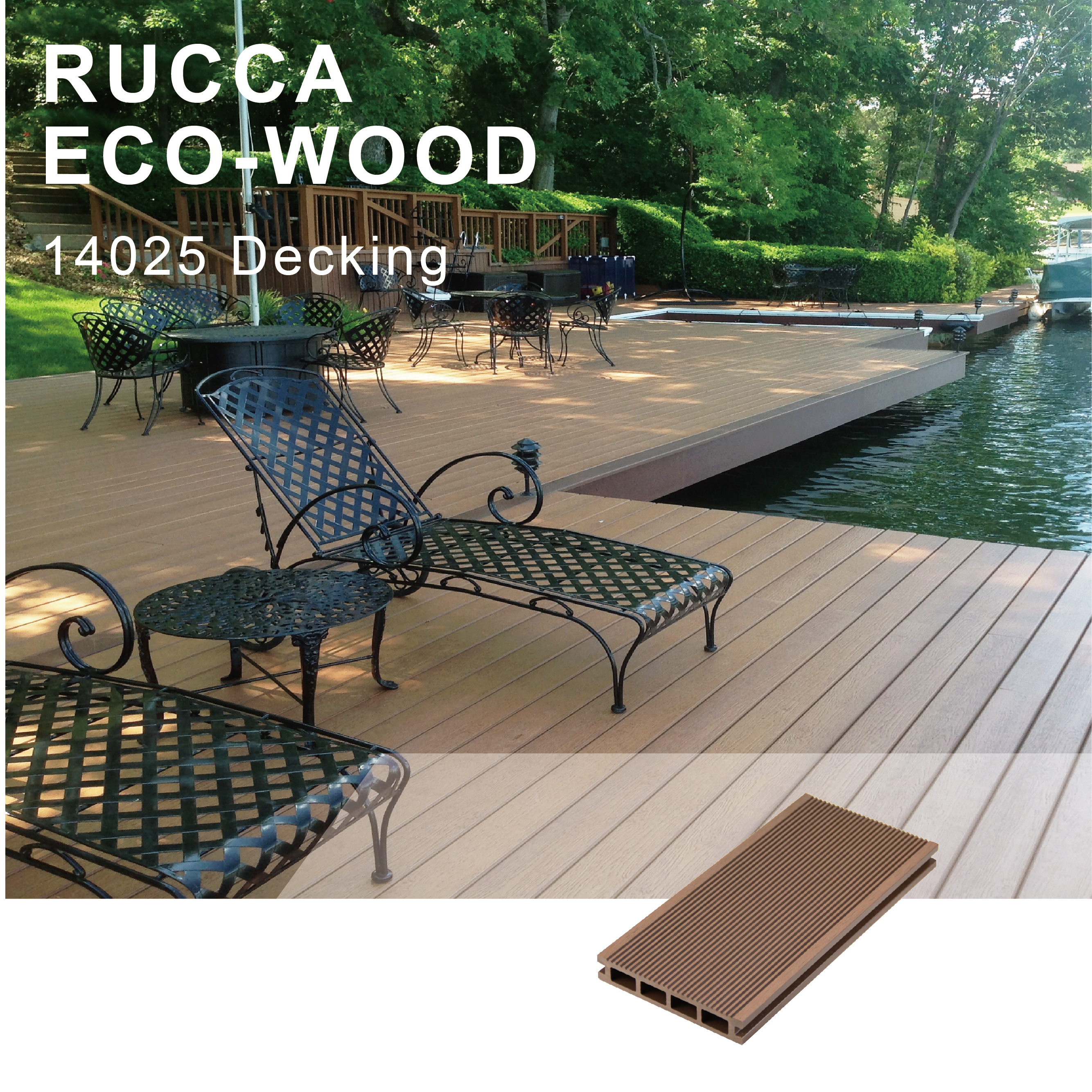 RUCCA PE Wood Plastic Composite Decking <strong>WPC</strong> suppliers 140*25mm teak decking <strong>decor</strong> outdoor decking
