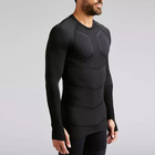 Oem black long sleeve slim fit gym t shirt for men