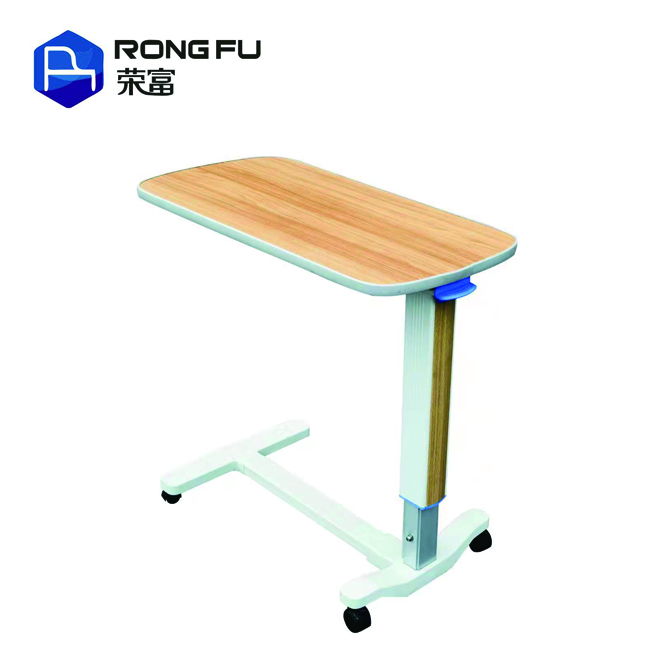 Hospital Height Adjustable Bedside Over Bed Tray <strong>Table</strong> With Wheels