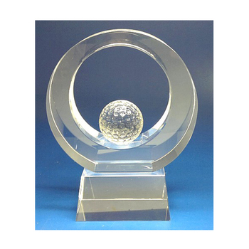 3D Engraved Crystal Golf Trophy Wholesale For Champion Souvenirs