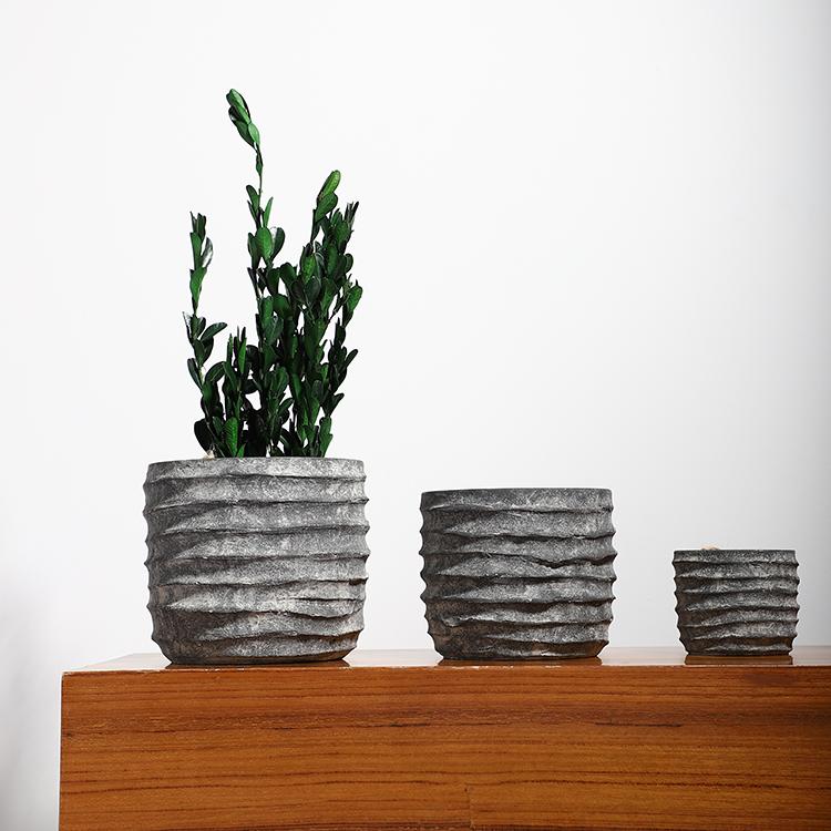 Simplism style matte black outdoor flowerpot molds / home decoration cement plant pots for gardening