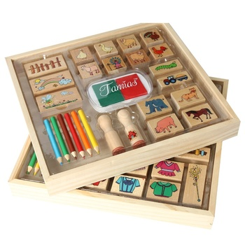 Factory Direct Eco-Friendly Wooden Stamp Creative Puzzle Cartoon Children Wooden Stamp Set