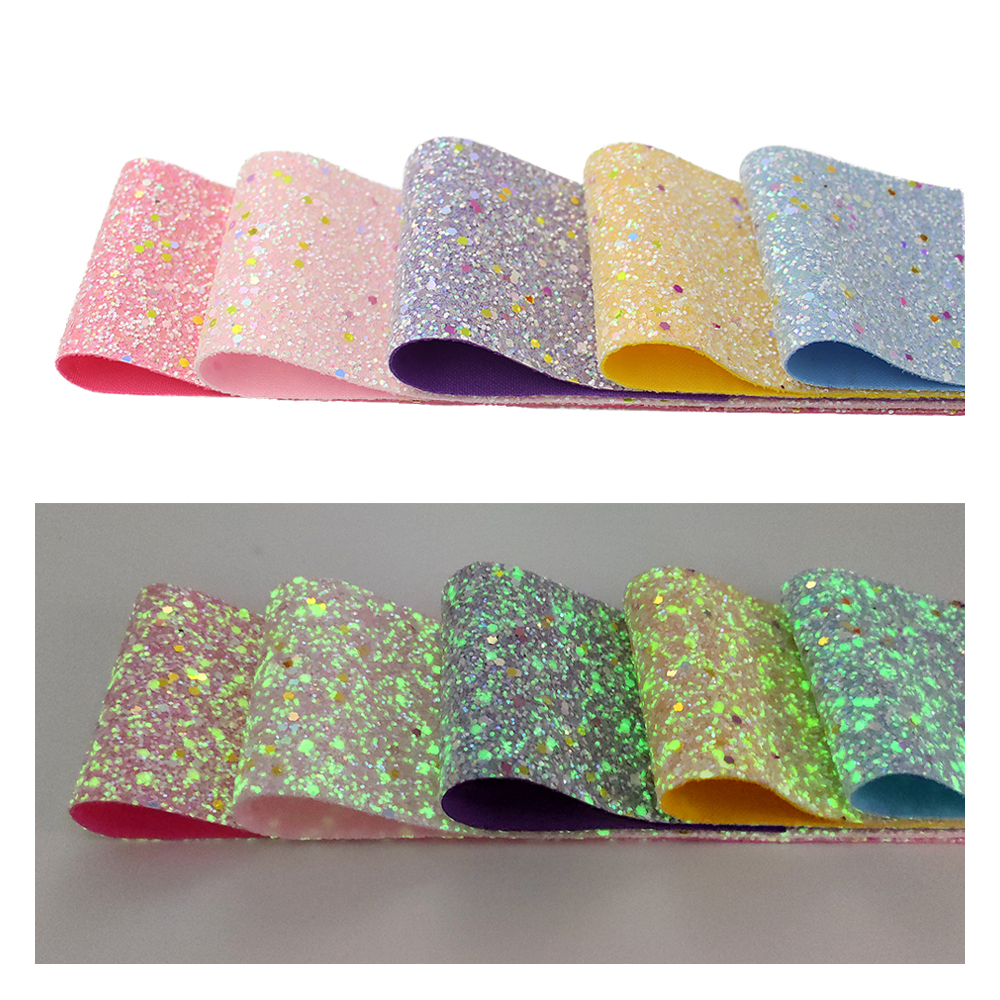 New Arrival 3 inch Glow in the Dark Chunky Glitter Ribbon for Handmade Girls Bows