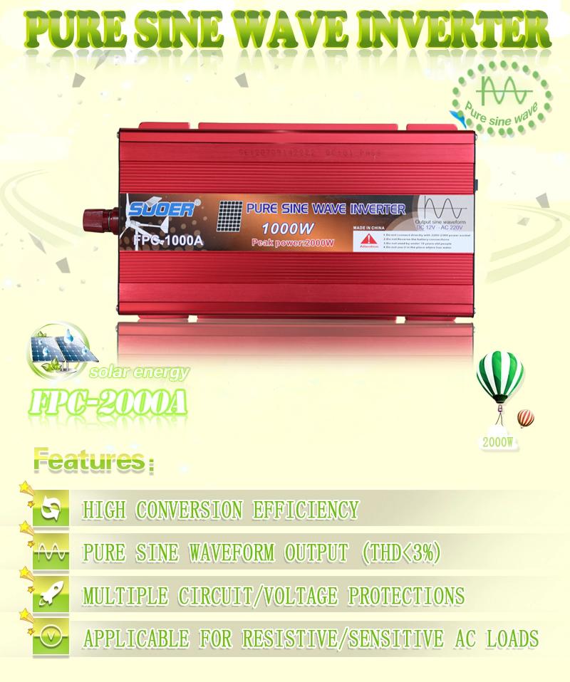 Suoer wholesale inverter 1000 watt 220v 24v dc to ac manufacturer pure sine wave inverter