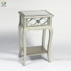 Wood and Glass Combination Bedroom Mirrored Bedside Table