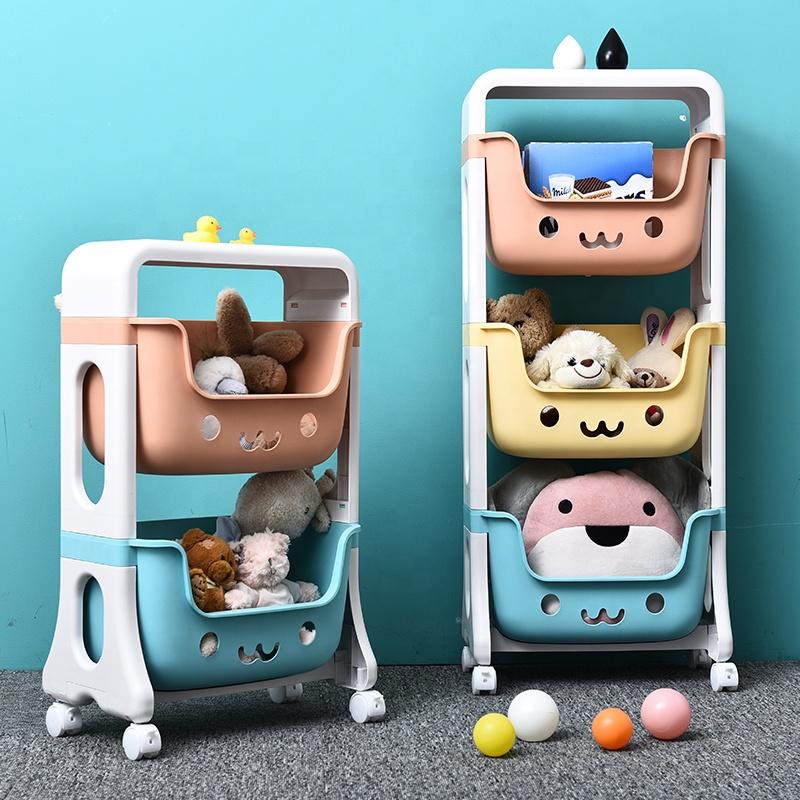 Home DIY 1- 4 Layer Plastic Kids Toy Storage Rack With Wheels For organizer Toy Snacks