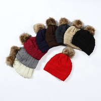 Thick Warm Winter women trendy Hat Knitted fur Poms Beanies Label Fedora Luxury Cable Slouchy Skull Caps Fashion Leisure beanie