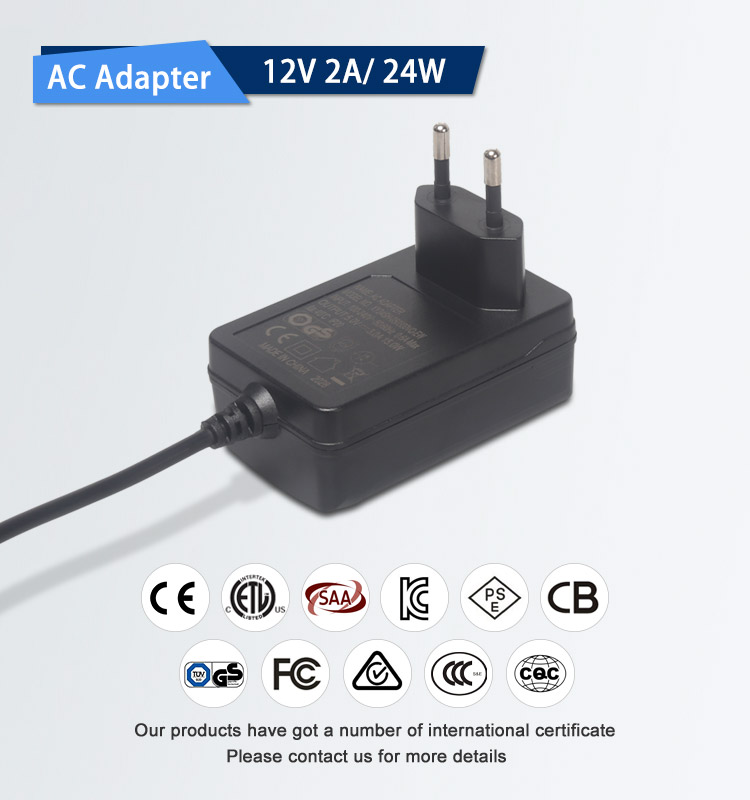 Wall mount CE GS TUV CB ETL certificated 12v 2a ac dc adapter power supply for humidifier