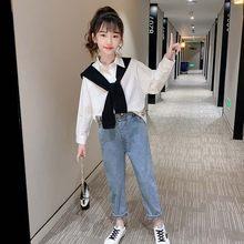 Одежда для девочек плотное Цвет; Одежда для девочек; Белая блуза + джинсы, одежда для девочек, весенне-осенняя Спортивная одежда для детей на ...(Китай)