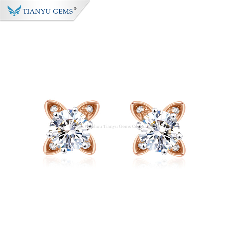 Tianyu gems <strong>flower</strong> shape moissanite <strong>earring</strong> studs 14k <strong>rose</strong> gold <strong>earrings</strong> daily wear