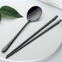 Food grade stainless steel spoon chopsticks set with wheat box