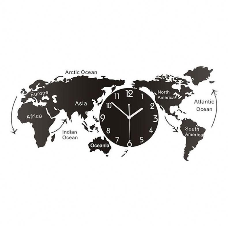 Jam Dinding Akrilik Unik, Hiasan Peta Dunia Kreatif untuk Kantor Rumah Ruang Tamu 1 Buah