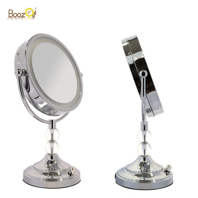 """8 """"Dual Vergrößerung desktop AC Adapter Standing Round Led Beleuchtet Make-Up Spiegel Großhandel Für Schmuck Shop"""