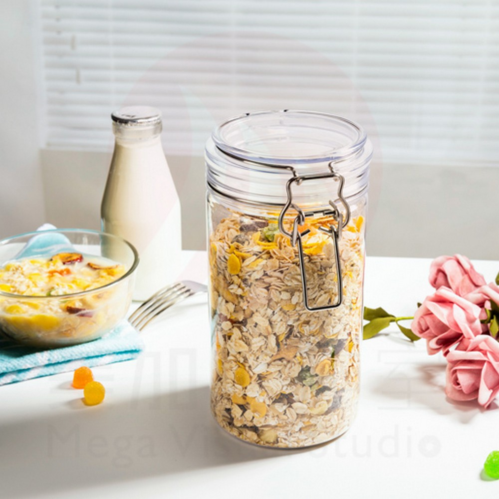 Home Storage Food Grade mason wooden lid Jar 1000ml Plastic Pet Container with Metal Clip
