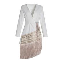 Женская куртка с поясом TWOTWINSTYLE, свободная куртка контрастных цветов с v-образным вырезом и длинным рукавом, Осень-зима 2020(Китай)