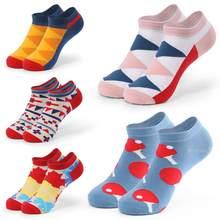 5 пар/лот, большие размеры, мужские носки, весна-лето, спортивные, дышащие, в полоску, в стиле пэчворк, носки по щиколотку, подарки для мужчин, ...()