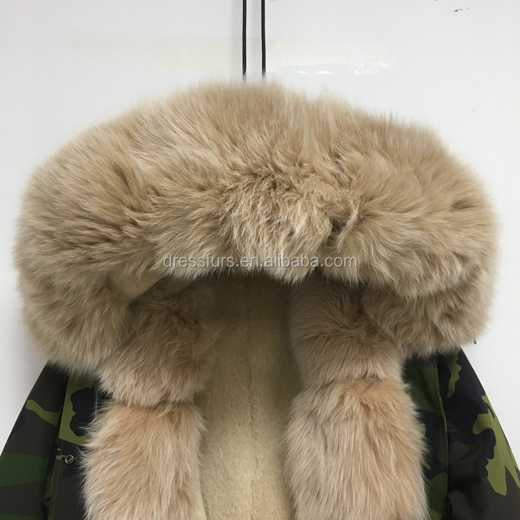 Fox Fur Collar Hood Trim Parka with Faux Fur Lining Winter Jackets Fur Coat for Women