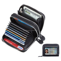 Women's RFID Credit Card Holder Organizer Case Leather Security Wallet