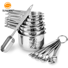Custom kitchen adjustable metal stainless steel cups set measuring cup and spoons for powder