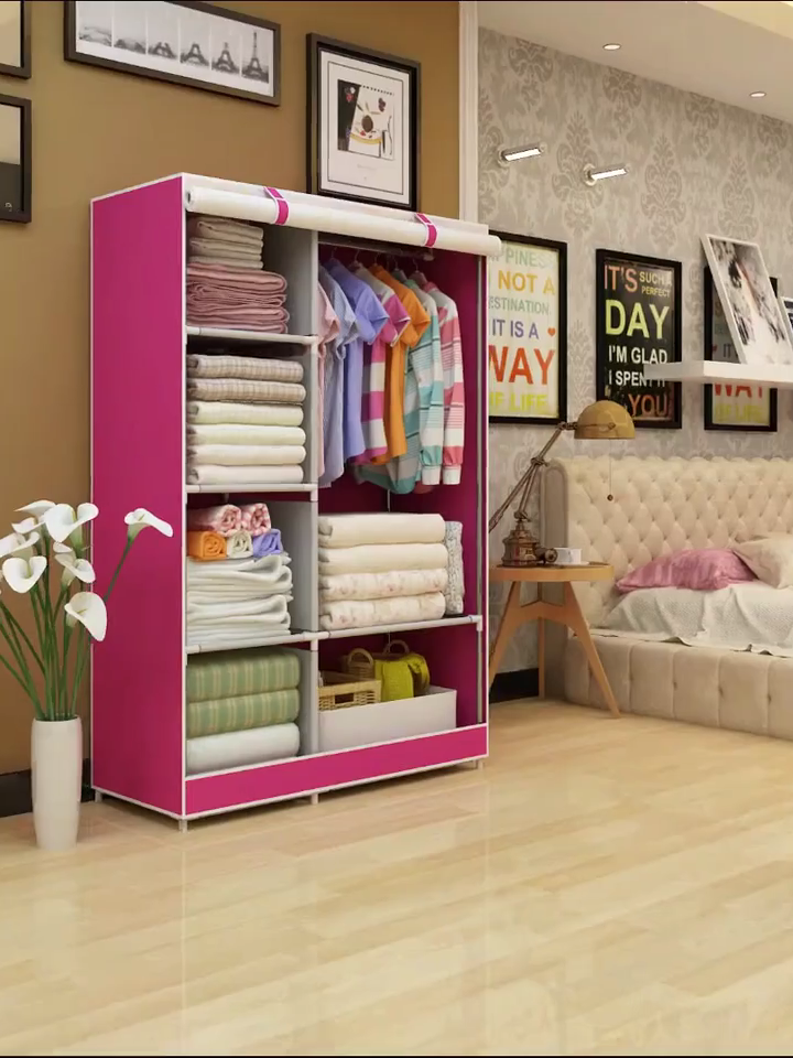 Wardrobe Bedroom Closet Organizer Plastic Clothes Storage Shelves, Non-Woven Fabric Cover with Side Pockets