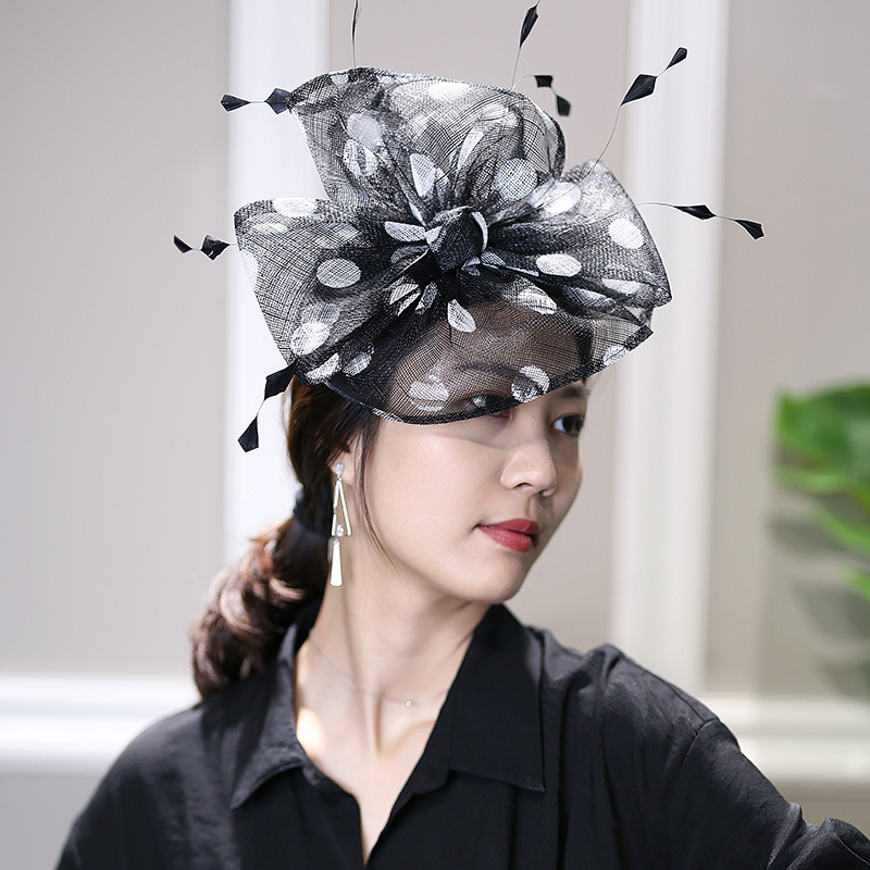 Spring Linen Gauze Top Hat European Banquet Evening  Female Headwear