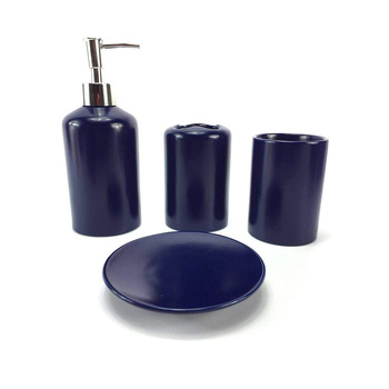 Decorative Simple Bathroom Accessory Set Blue Ceramic Bathroom Kit For Bathroom Decor
