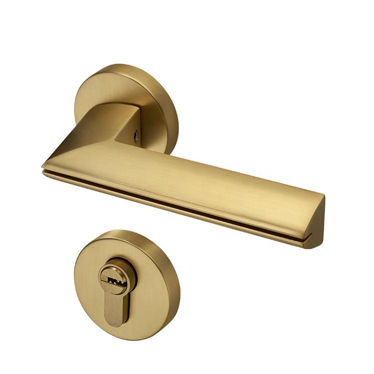 ホット販売品質デザインゴールドドアレバーノブ産業現代ドアノブミニマリストドアハンドル