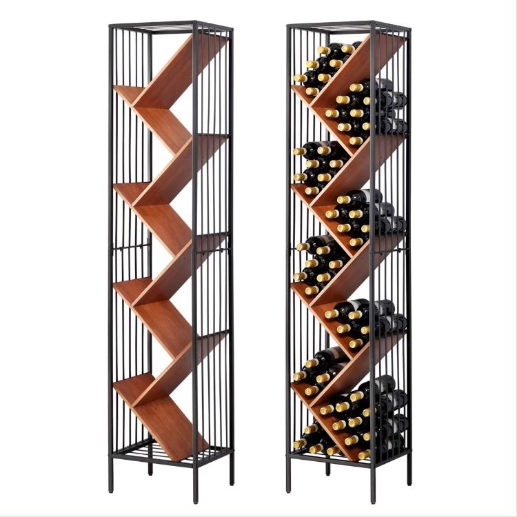 Modulare In Metallo E Pavimento In Legno Basamento Del Vino di Stoccaggio Bottiglia di Vino Cremagliera