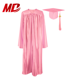 High School Graduation Uniform Shiny Pink Gown and Cap