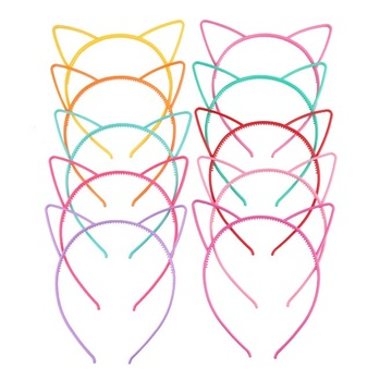 color mixed cheap candy color kids cat ears shape plastic hair headband